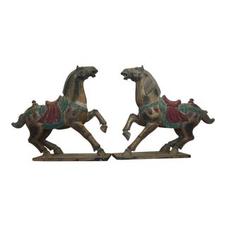 Polychrome Wooden Horse Statues - a Pair For Sale