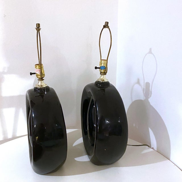 Mid-Century Modern Black Glaze Pottery Sculptural Table Lamps - a Pair For Sale - Image 4 of 8