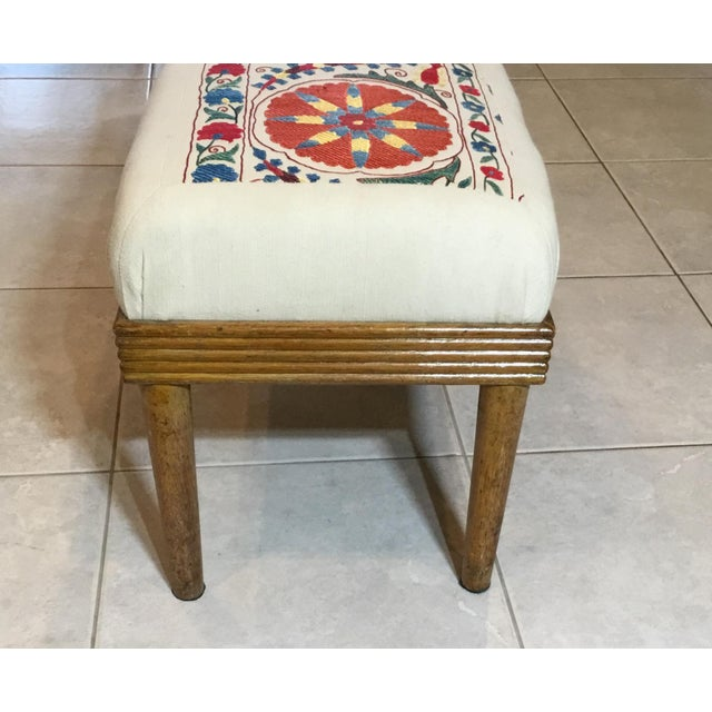 Vintage sitting foot stool made of wood ,upholstered with beautiful hand embroidery silk Suzani textile ,firm sitting...