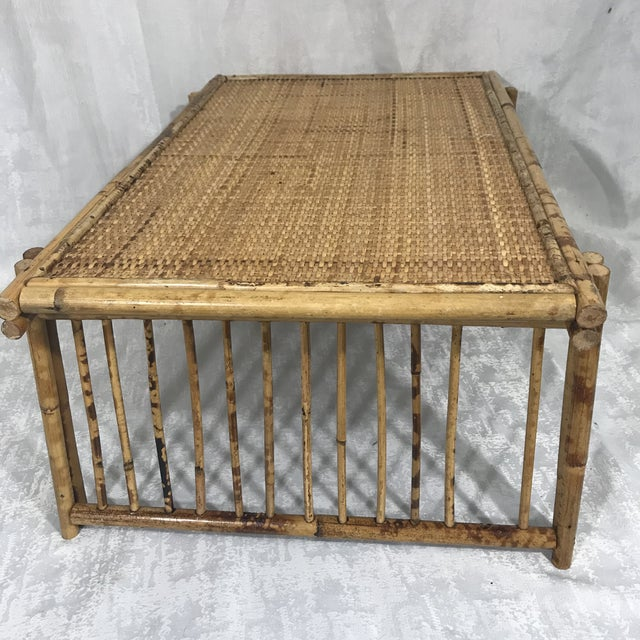 20th Century Chinoiserie Tortoise Shell Bamboo & Rattan Folding Bed Tray Table For Sale - Image 4 of 7