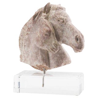 19th Century Carved Soapstone Sculpture of Horse Head For Sale
