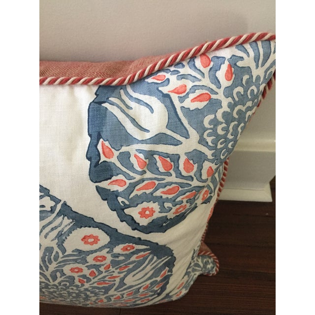 Contemporary Custom Galbraith & Paul Lotus Coral and Blue Pillow Cover For Sale - Image 3 of 5