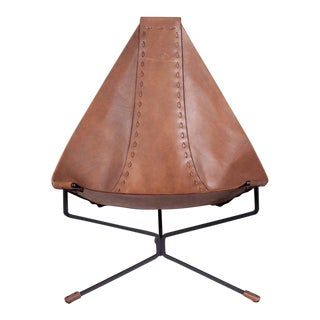 Enclosed Lotus Lounge Chair by Dan Wenger in Leather and Steel For Sale