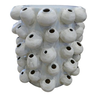 White Barnacle Side Table Garden Stool For Sale