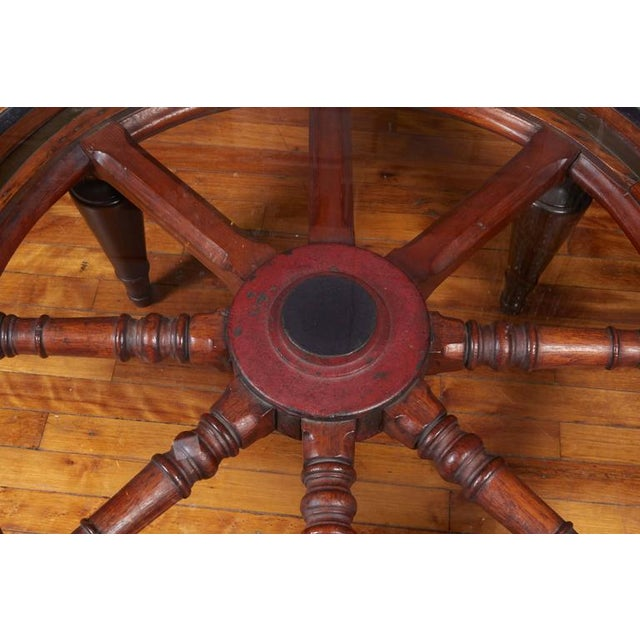 Antique Ship's Wheel Coffee Table For Sale - Image 4 of 6
