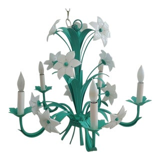 Mid-Century Italian Murano Metal Green Floral 6 Arm Chandelier For Sale
