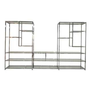 1970s Milo Baughman Style Chrome Etagere For Sale