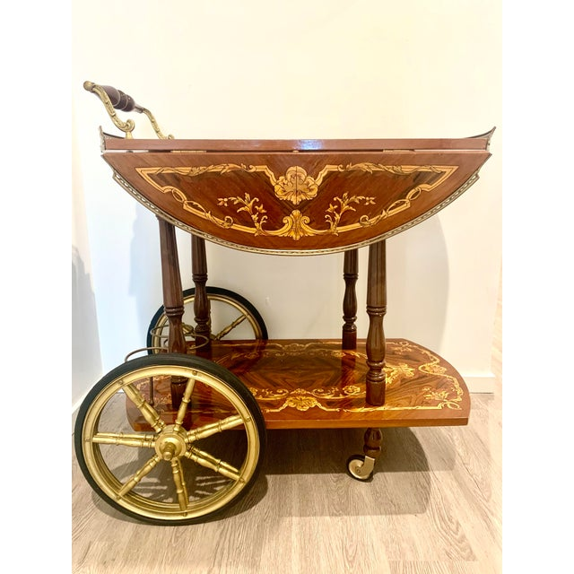 Mid Century Vintage Italian Inlay Wood Bar Cart For Sale - Image 13 of 13