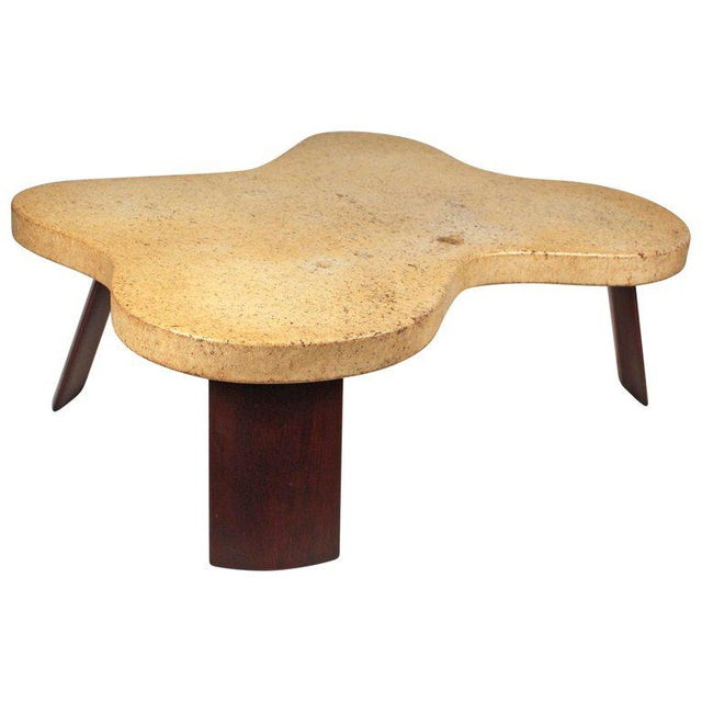 Rare cork top 'Cloud' coffee table designed by Paul Frankl. Table is in beautiful original condition with original patina...