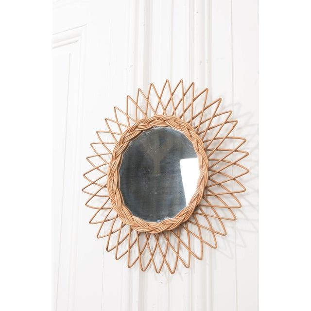 Boho Chic English Vintage Rattan Sunburst Mirror For Sale - Image 3 of 9