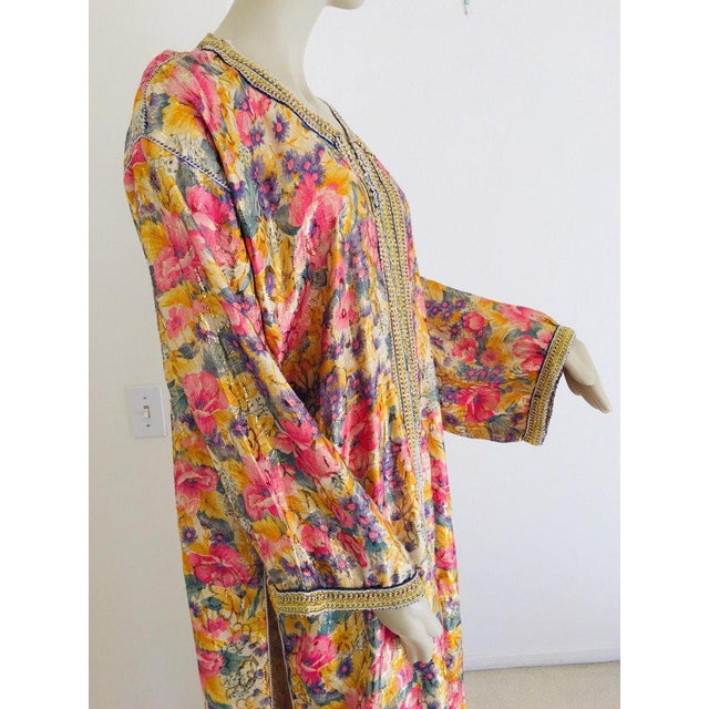 Metal Elegant Moroccan Caftan Metallic Floral Silk Brocade For Sale - Image 7 of 13