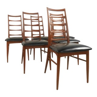 Set of Vintage Niels Kofoed Ladder Back Dining Chairs for Raymor For Sale