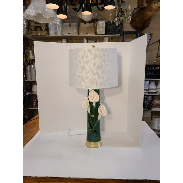 Peace Lily Ceramic Lamp With Shade by Haeger For Sale - Image 11 of 13