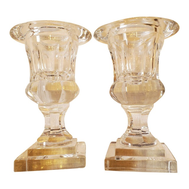 Small Pair of Crystal Urns -A Pair For Sale