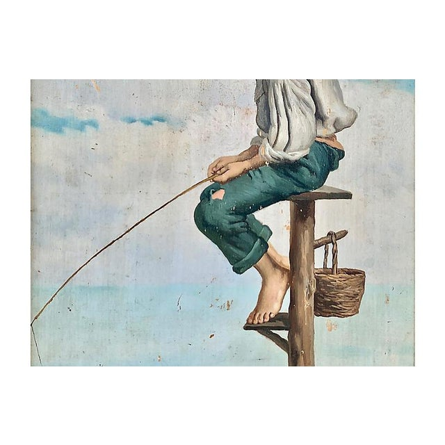 Late 19th Century Young Man Fishing, Naples, 1880s For Sale - Image 5 of 8