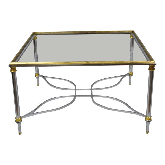 Neoclassical Maison Jansen Style Chrome Steel and Brass Square Coffee Table Base For Sale