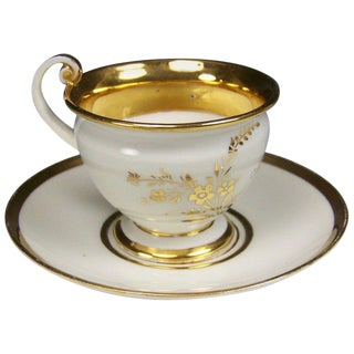 19th Century Meissen Porcelain Sei Glucklich, Flower in Gold Cup and Saucer For Sale