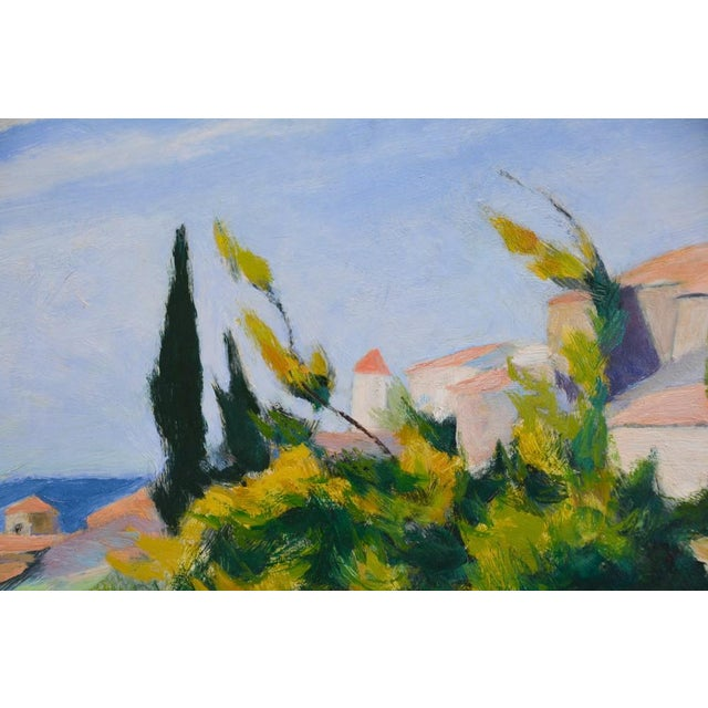 Rustic European French Countryside Landscape Oil Painting - Hillside in Provence For Sale - Image 3 of 9