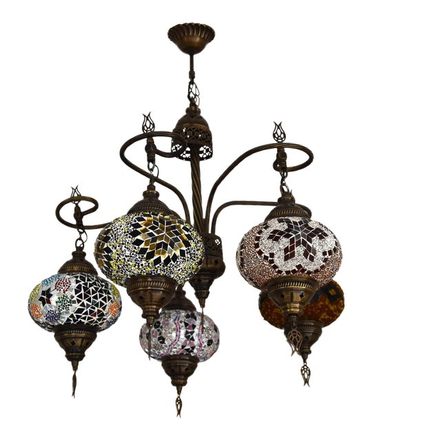 Turkish Handmade Glass Mosaic Multi Globe Light Fixture Chandeliers