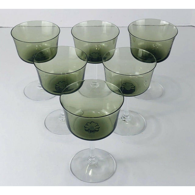 Fostoria Mid 20th Century Vintage Fostoria Glamour Green Wine / Water Glasses - Set of 6 For Sale - Image 4 of 6