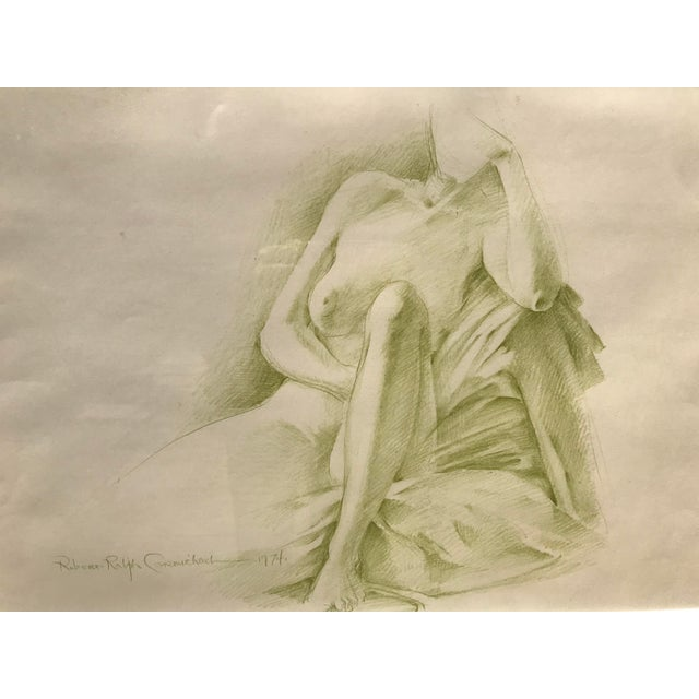 Drawing/Sketching Materials Robert Ralph Carmichael 1970s Vintage Nude Woman Graphite Drawing For Sale - Image 7 of 8