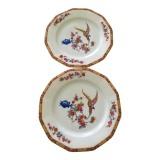 Vintage Black Knight Floral Porcelain Plates - a Pair For Sale