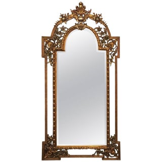 Monumental French Carved Floor or Console or Pier Mirror For Sale