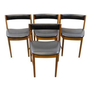 Vintage Mid Century Dining Chairs With Vinyl Upholstery- Set of 4 For Sale