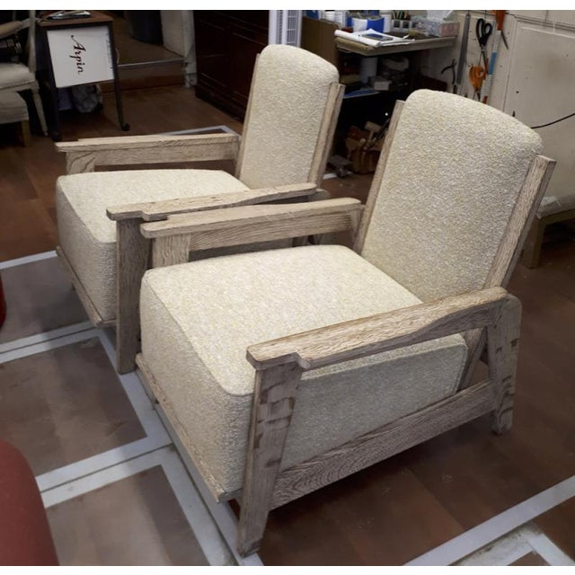 Style of Prouve cerused oak & boucle cloth lounge chairs with reclining back