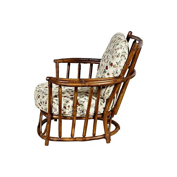 1950's Rounded Rattan Lounge Chair - Image 3 of 5