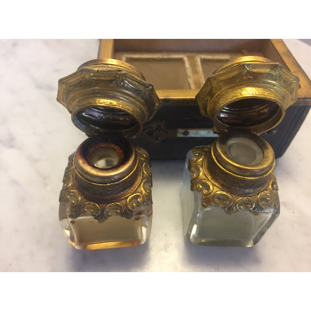 Italian Continental Perfume Shagreen, Mother of Pearl Miniture Trunk With Gilt Filigree Crystal Bottles - 3 Pieces For Sale - Image 3 of 13