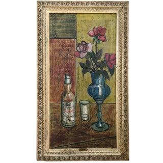 Listed Porisse Vintage 1947 Mid Century Modern Abstract Art Deco Still Life Oil Painting For Sale