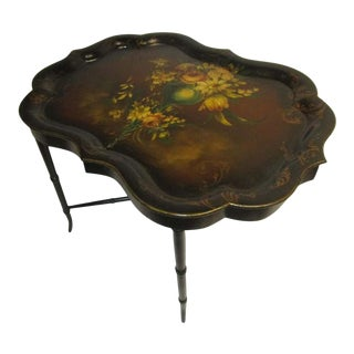 19th Century Papier Mâché Scalloped Hand Painted Tray Table For Sale