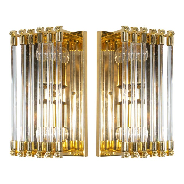 Pair of Mid-Century Modernist Brass and Glass Rod Sconces For Sale