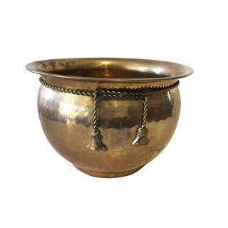 Hammered Brass Jardiniere/Cachepot For Sale