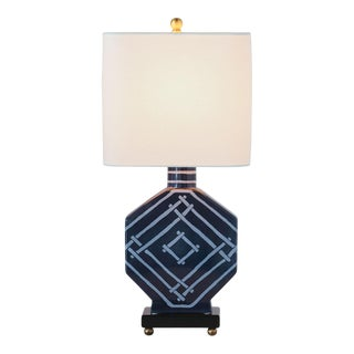 Madcap Cottage Blue Trellis Pattern Indigo Table Lamp For Sale