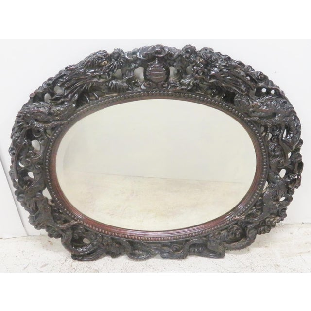Ebonized Chinese Dragon Carved Oval Mirror - Image 8 of 8