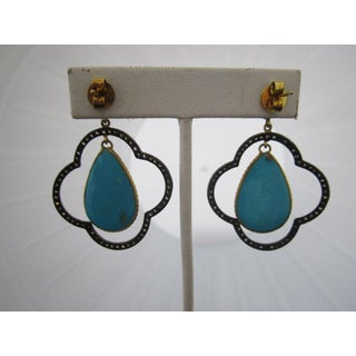 Moroccan Inspired Sterling Silver Diamond and Turquoise Earrings Preview