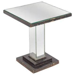 1930s Art Deco Mirrored Square Side Table For Sale