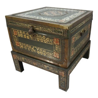 Moroccan Style Painted Trunk With Stand