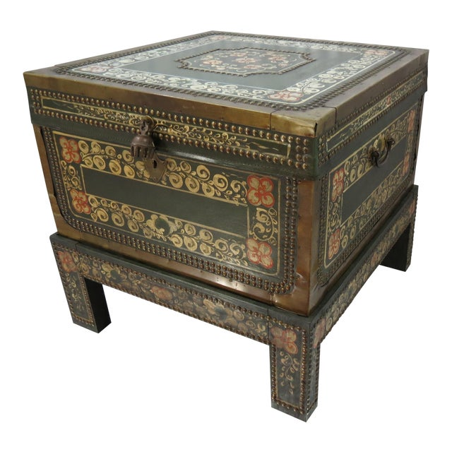 Moroccan Style Painted Trunk With Stand - Image 1 of 8