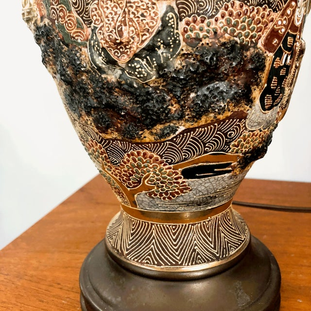 Japanese Satsuma Moriage Table Lamp For Sale - Image 12 of 13