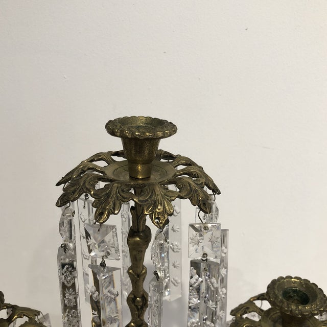 Antique Brass Crystal Prism Girandole Candelabra - Set of 3 For Sale In Houston - Image 6 of 13