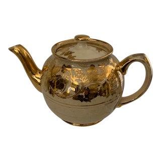 1940s English Gilt Lustre Tea Pot For Sale