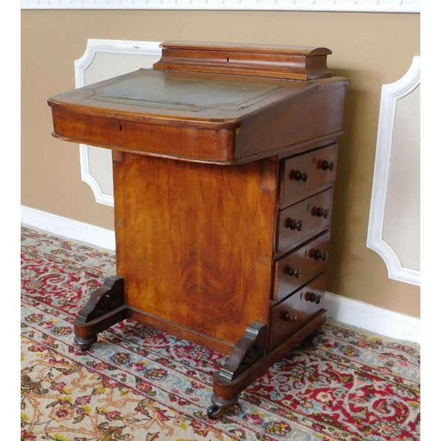 19th Century Antique Victorian Inlaid Walnut Captains Davenport Slant Desk For Image 4 Of