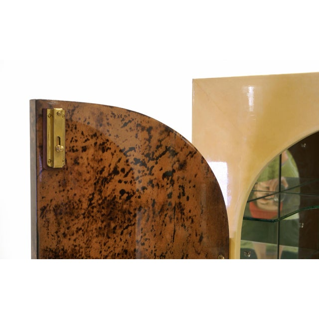 Gold Stunning Aldo Tura Lighted, Locking Bar Cabinet or Liquor Cabinet For Sale - Image 8 of 12