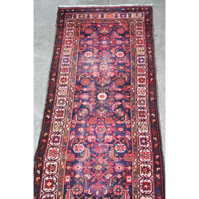 Persian Vintage Mid-Century Floral Persian Hamedan Runner - 3′3″ × 9′7″ For Sale - Image 3 of 11