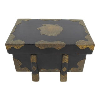 Antique Japanese Bronze Mounted Black Lacquer Box For Sale