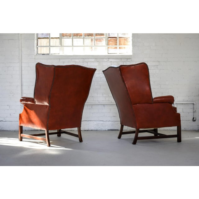 Vintage Marbled Red Leather Georgian H-Base Wingback Fireside Chairs - Pair For Sale - Image 4 of 13