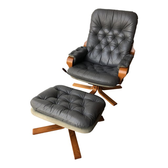 Vintage Mid Century Modern Scandinavian Lounge Chair & Ottoman For Sale